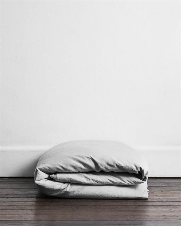 Fog 100% Flax Linen Duvet Cover - Bed Threads
