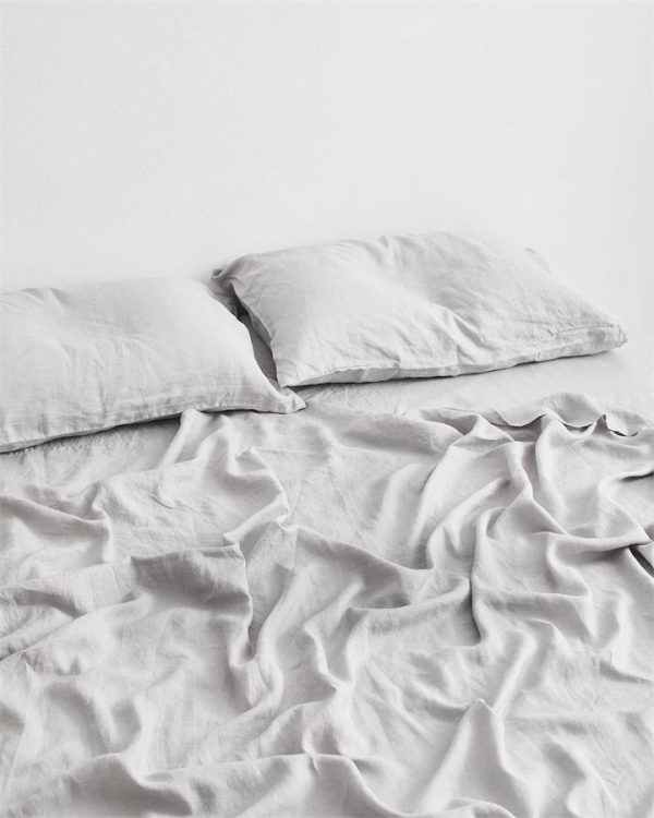 Fog 100% Flax Linen Fitted Sheet - Bed Threads