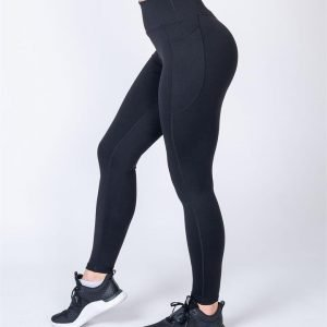 Full Length Pocket Leggings - Black - L
