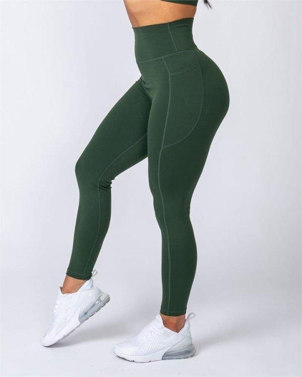 Full Length Pocket Leggings - Moss - L