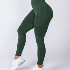 Full Length Pocket Leggings - Moss - XXL
