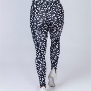 Full Length Scrunch Leggings - Black Leopard - L