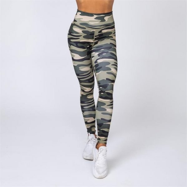 Full Length Scrunch Leggings - Green Camo - L