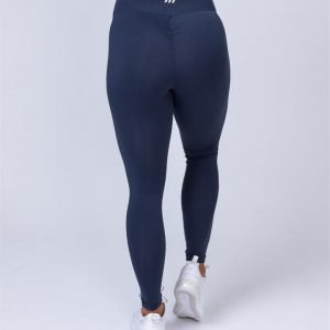 Full Length Scrunch Leggings - Navy Blue - L