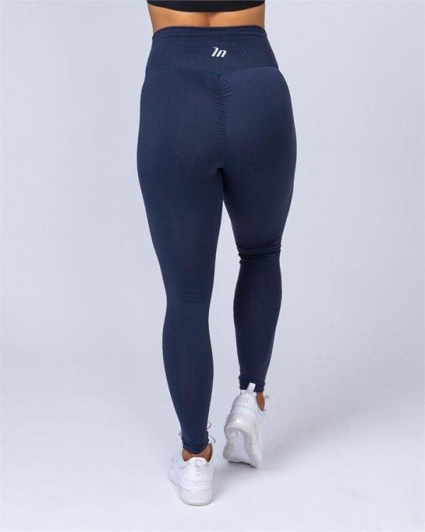 Full Length Scrunch Leggings - Navy Blue - XL