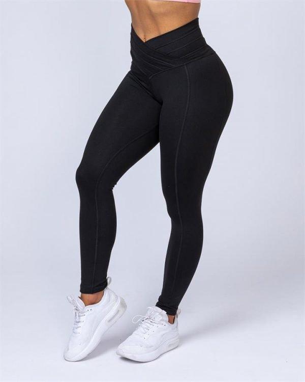Full Length V Wrap Leggings - Black - XXS