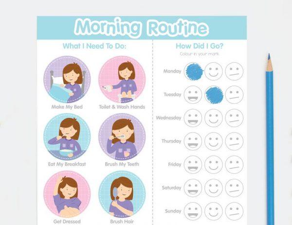 Girl Morning Routine Chart