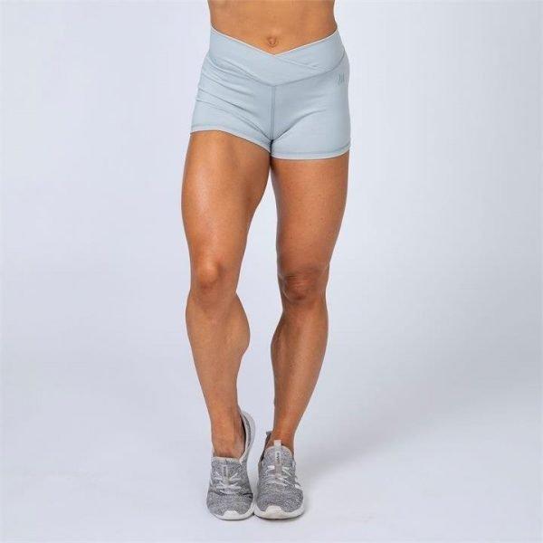 HBxMN V-Style High Waist Scrunch Shorts - Light Grey - M
