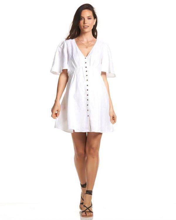 Hani Buttoned Linen Dress