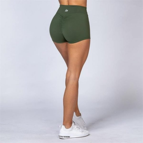 High Waist Scrunch Shorts - Army Green - L
