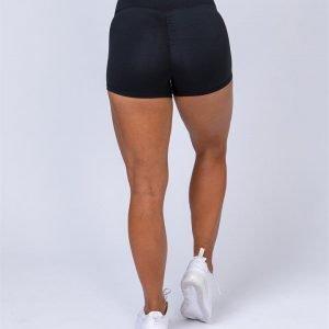 High Waist Scrunch Shorts - Black - XS