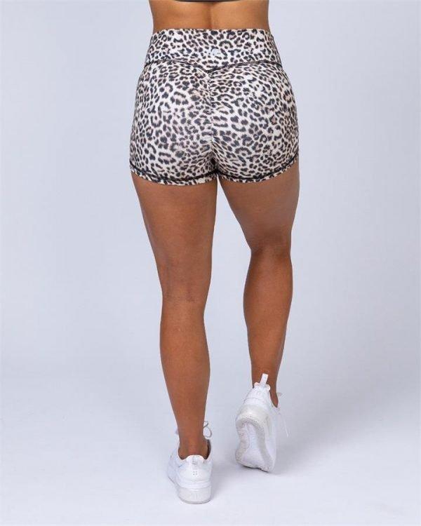 High Waist Scrunch Shorts - Yellow Leopard - XL