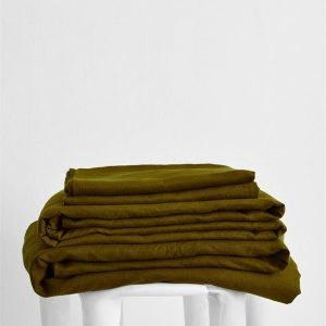 Khaki 100% Flax Linen Sheet Set - Bed Threads