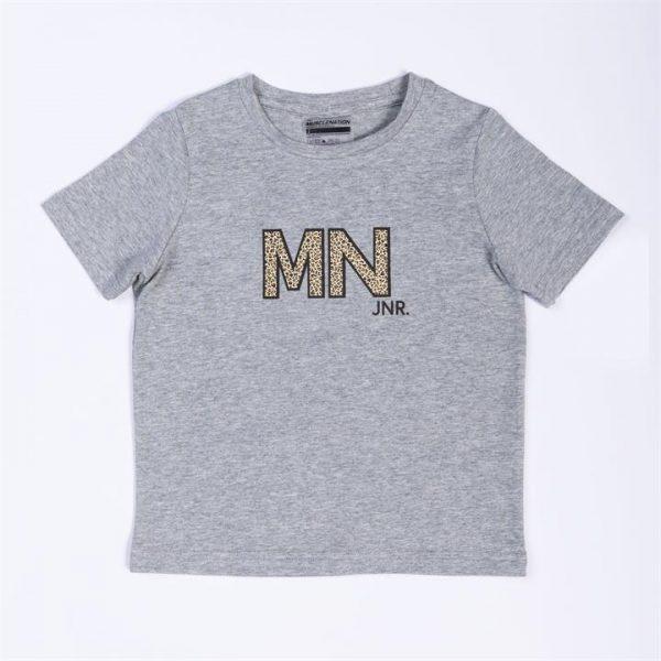 Kids MN Tee - Grey / Leopard - 4