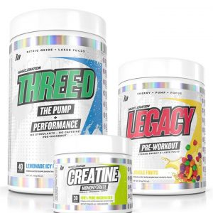LEGACY Pre-Workout + THREE-D Pump Performance + Creatine STACK - Bundle