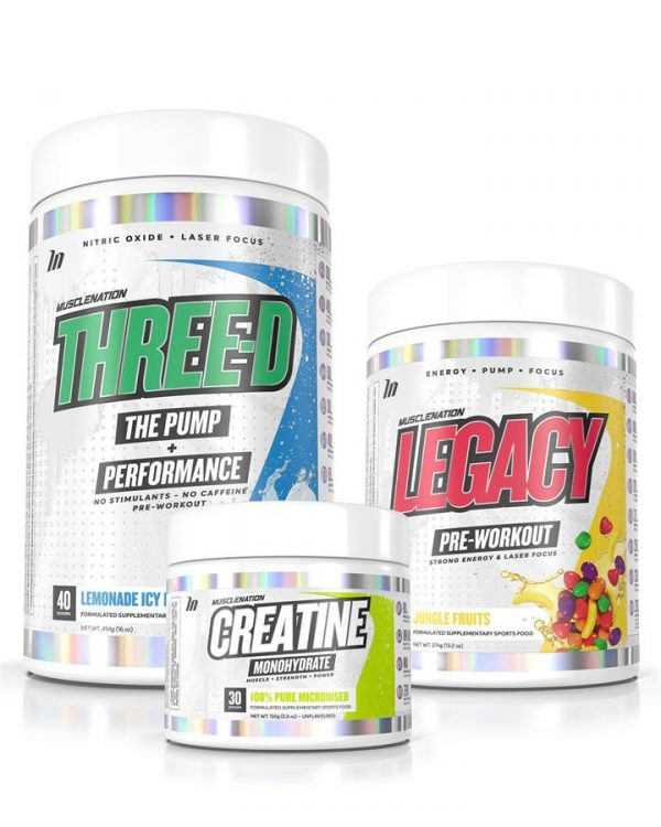 LEGACY Pre-Workout + THREE-D Pump Performance + Creatine STACK - Bundle