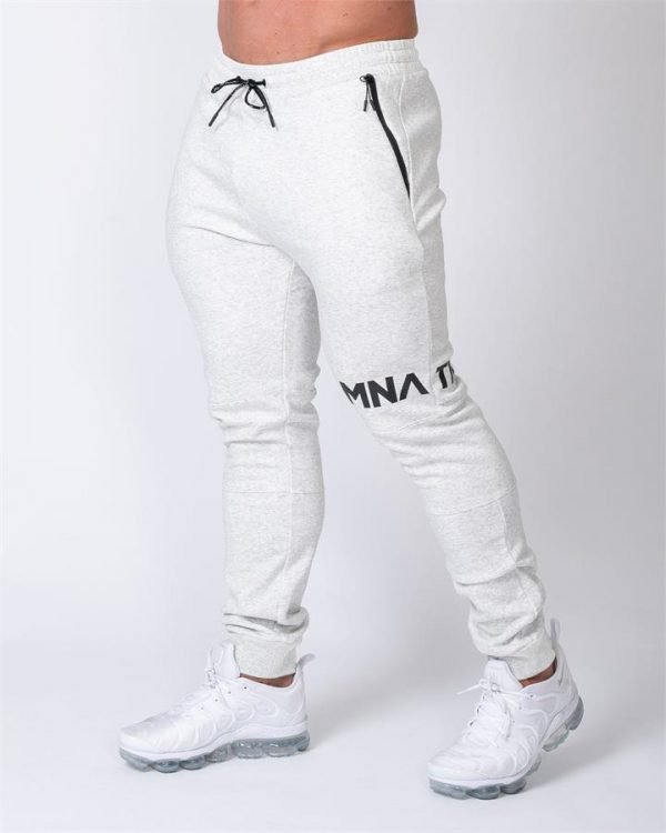 MNation Tapered Joggers - White Marl - S