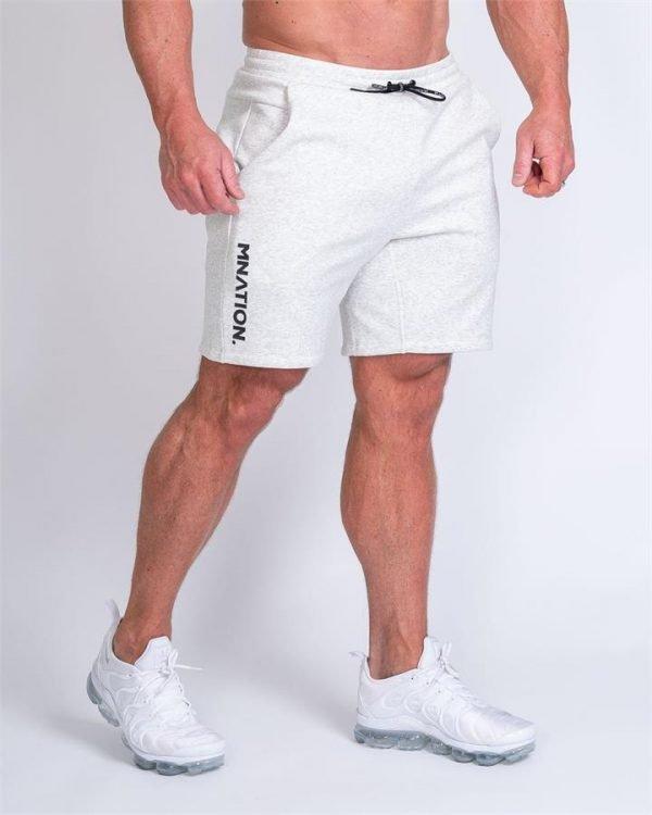 Mens Casual Shorts - White Marl - XXXL