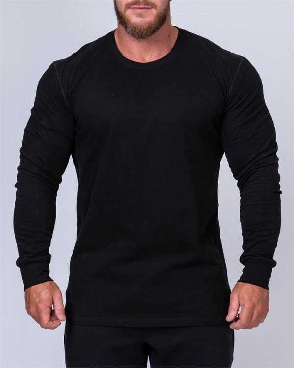 Mens Long Sleeve Tee - Black - S
