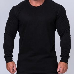 Mens Long Sleeve Tee - Black - XXXL