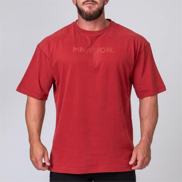 Mens Oversized Tee - Burgundy - M