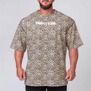Mens Oversized Tee - Leopard - XXL