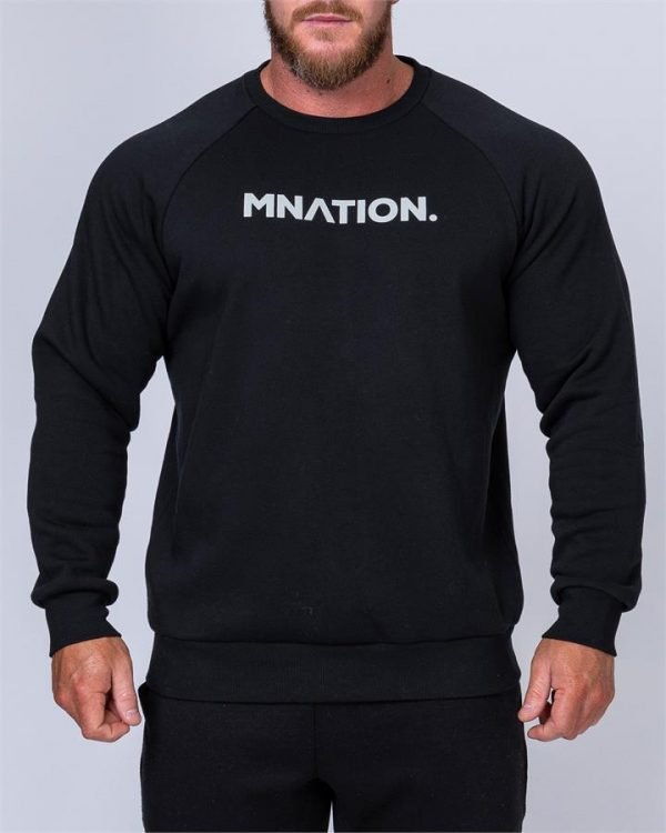 Mens Slouchy Pullover - Black - XXL