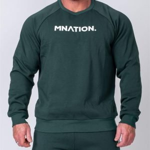 Mens Slouchy Pullover - Emerald Green - L