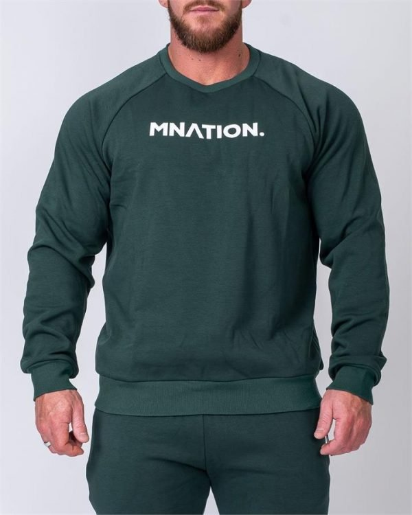 Mens Slouchy Pullover - Emerald Green - XL
