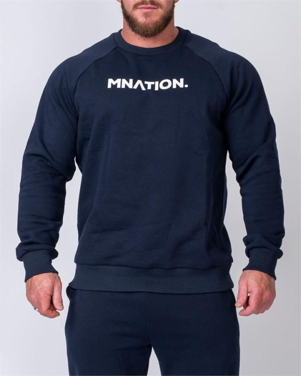 Mens Slouchy Pullover - Navy - L