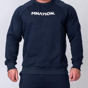 Mens Slouchy Pullover - Navy - S