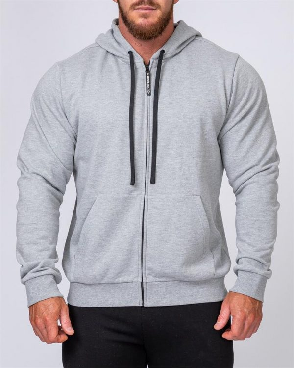 Mens Zip Up Hoodie - Grey - S