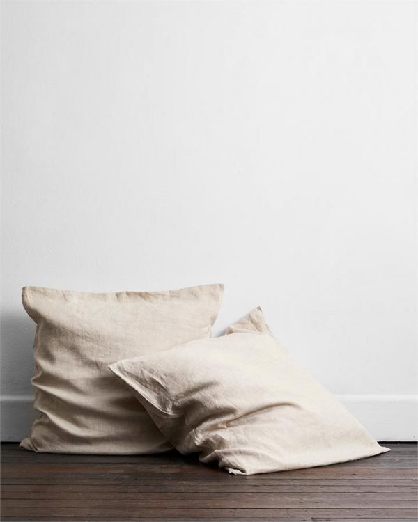 Oatmeal 100% Flax Linen European Pillowcases (Set of Two) - Bed Threads