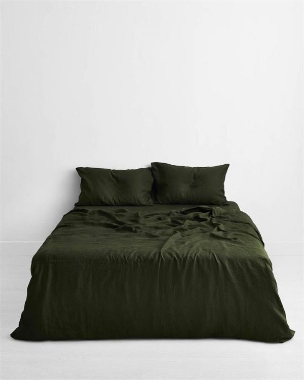 Olive 100% Flax Linen Bedding Set - Bed Threads