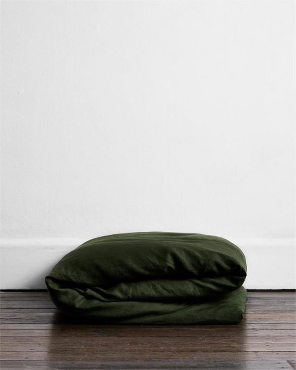 Olive 100% Flax Linen Duvet Cover - Bed Threads