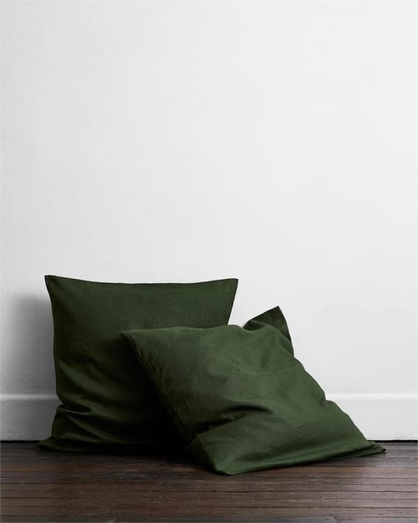 Olive 100% Flax Linen European Pillowcases (Set of Two) - Bed Threads