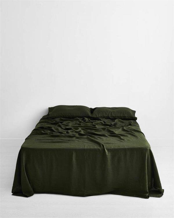 Olive 100% Flax Linen Flat Sheet - Bed Threads