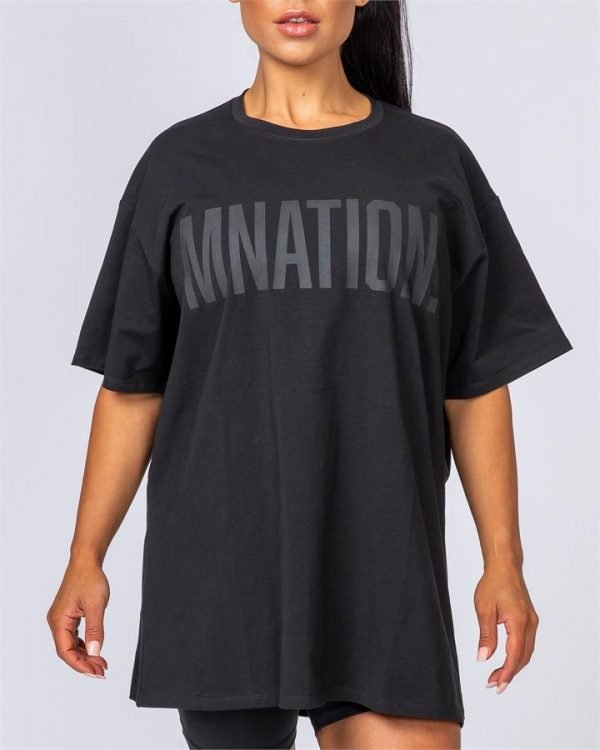 Oversized Tonal Tee - Black - L