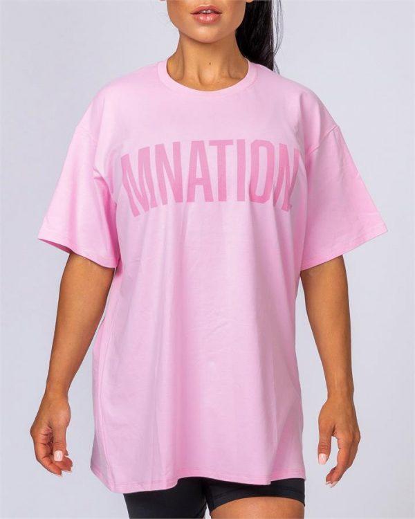 Oversized Tonal Tee - Pink - L