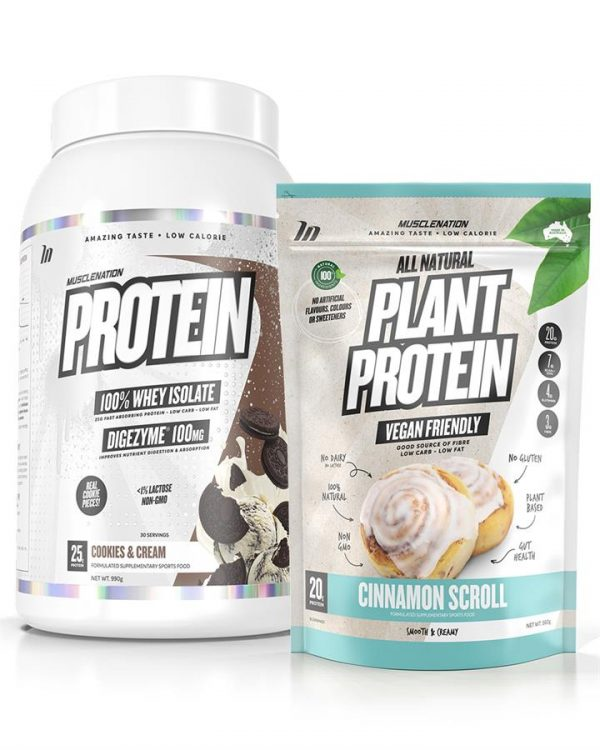 PROTEIN 100% Whey Isolate + 100% NATURAL Plant Protein STACK - Bundle