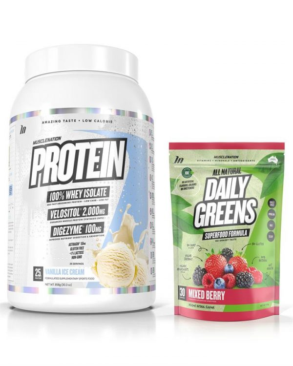 PROTEIN 100% Whey Isolate + 100% Natural Daily Greens STACK - Bundle