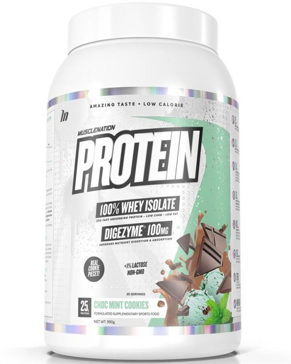 PROTEIN 100% Whey Isolate CHOC MINT COOKIES (w/ real cookie pieces)