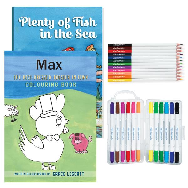 Personalised Story And Colouring Book With Markers OR Coloured Pencils