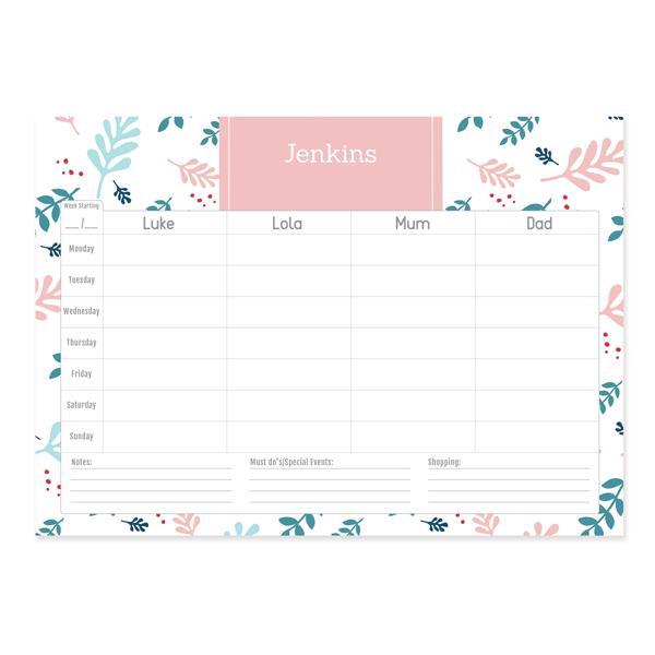 Personalised Weekly Desk Planner