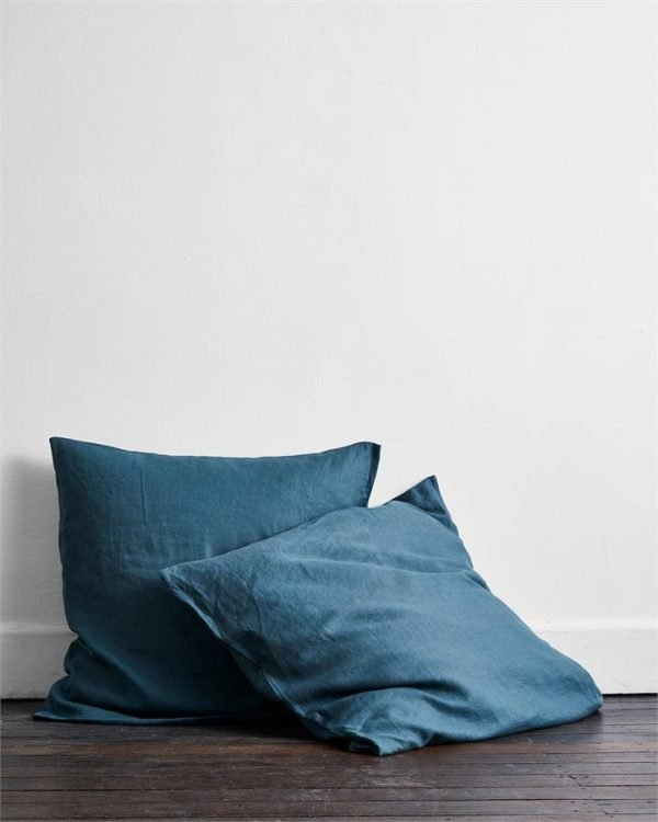 Petrol 100% Flax Linen European Pillowcases (Set of Two) - Bed Threads