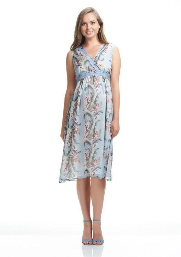 Pin-Tuck Maternity Midi Dress