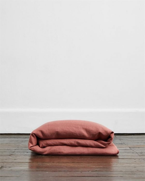 Pink Clay 100% Flax Linen Duvet Cover - Bed Threads
