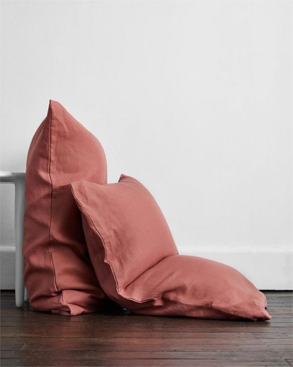 Pink Clay 100% Flax Linen Pillowcases (Set of Two) - Bed Threads