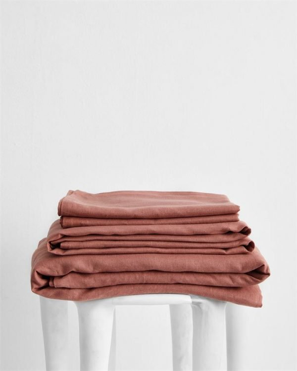 Pink Clay 100% Flax Linen Sheet Set - Bed Threads