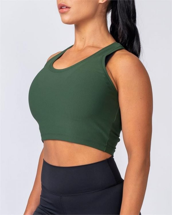 Ribbed Cropped Tank - Moss - XXS
